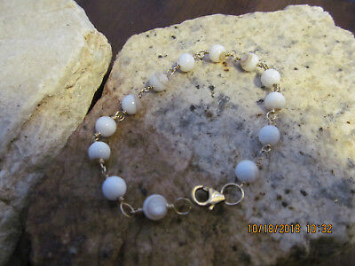 14 KT Gold Filled Wire Wrapped Mother Of Pearl Linked Bracelet