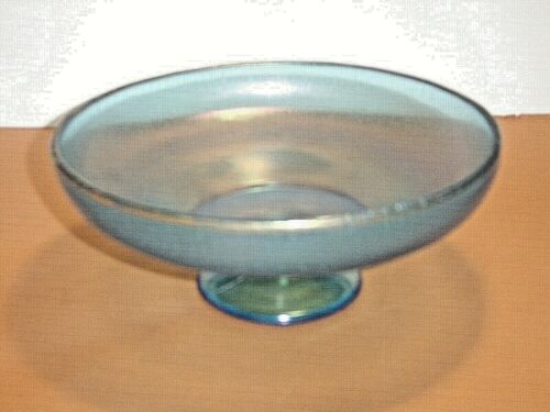 """Vintage Blue Iridescent Stretch Glass 8"""" Footed Bowl"""