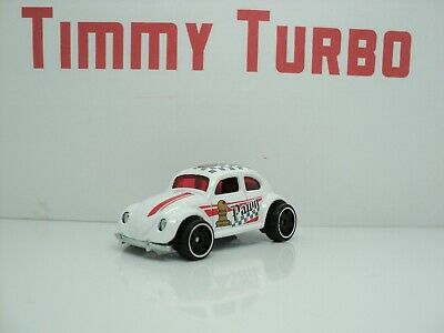 HOT WHEELS VW VOLKSWAGEN BEETLE WHITE PAWN 1988 65MM LONG 21