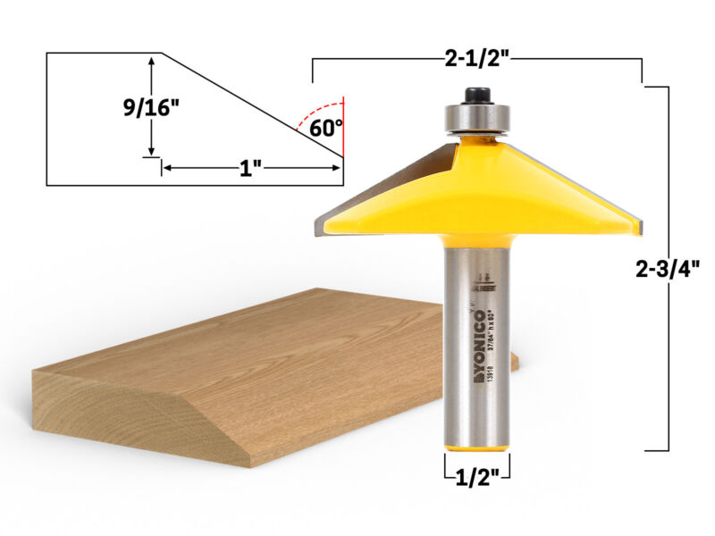 """60 Degree Bevel Edge Forming Router Bit - 1/2"""" Shank - Yonico 13918"""