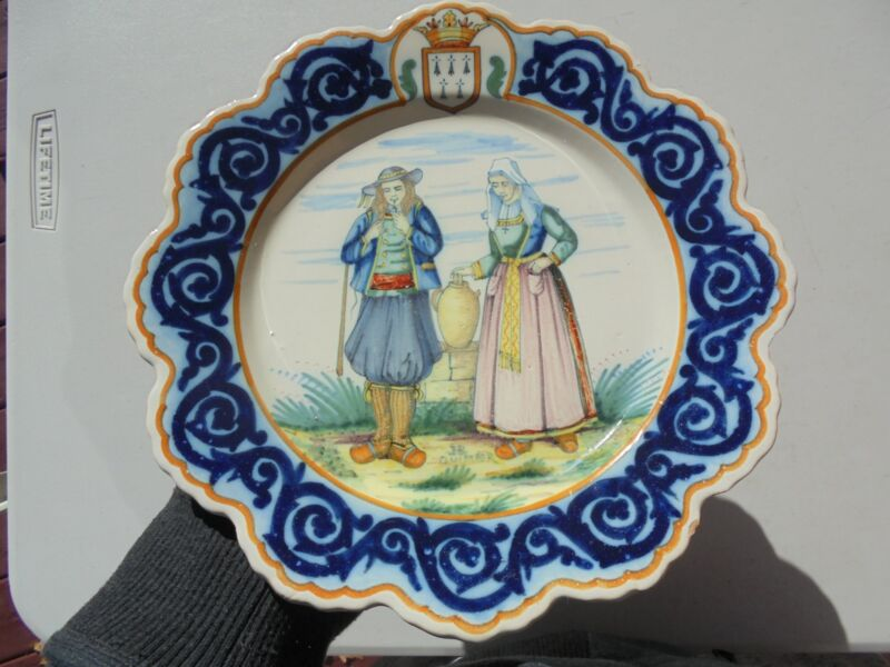 Vintage Henriot Quimper Faience Pottery Decor Riche Plate Man Woman Jug 9 7/8""