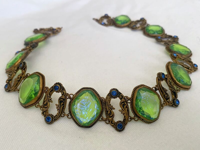 Vintage Antique Art Deco Nouveau Czech Dragons Breath Bezel Open Necklace