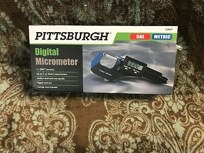 Pittsburgh Digital Micrometer - Sae Metric Model 63647 New With Battery