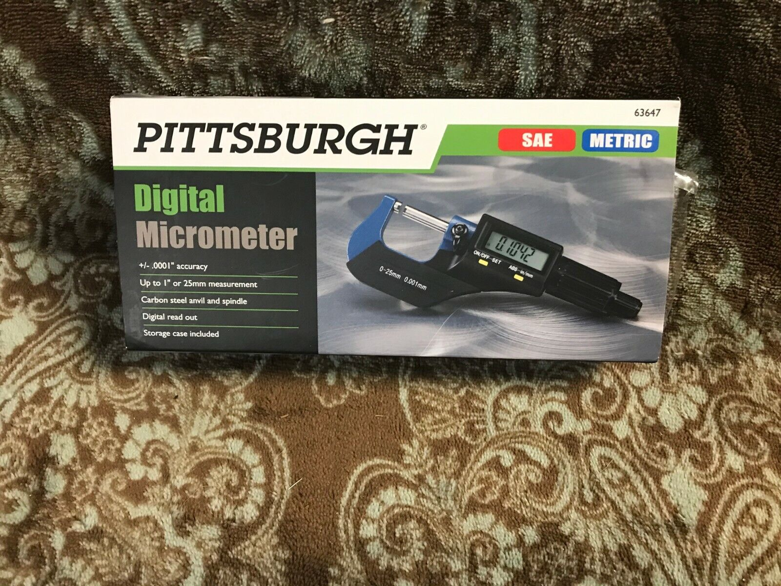 PITTSBURGH Tools, Digital Micrometer w/ Case & Batteries , #