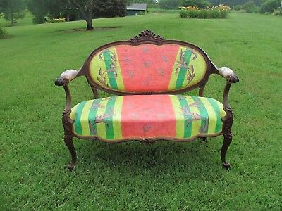 ANTIQUE CARVED MAHOGANY LOVE SEAT