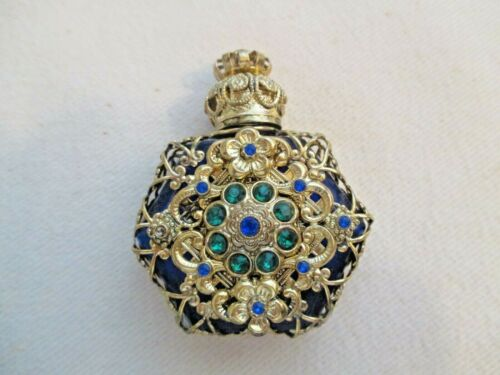 New Czech Victorian Cobalt Blue Jeweled Miniature Perfume Bottle With Dauber