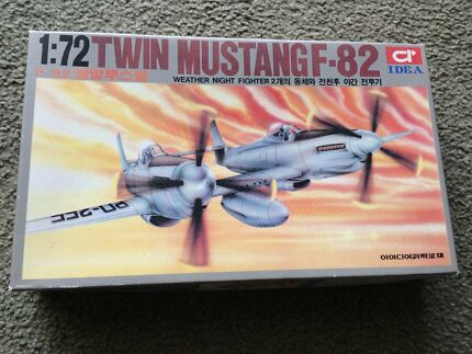 Scale plastic model plane of the twin mustang f-82