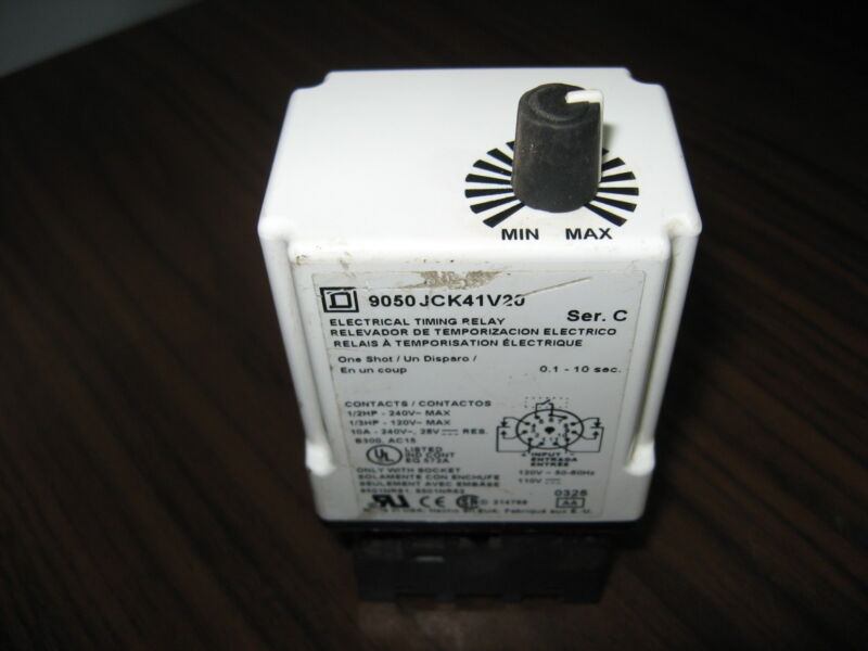 Square D 9050 JCK41V20 Timing Relay With Base 0.1 to 10 Seconds