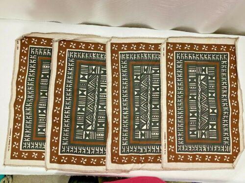 Set (4) 100% Pure Linen Tapa Cloth Handmade In FIJI Screen Print Place Mats Brow