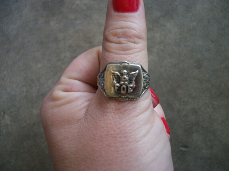 vintage 1940 FOE Fraternal Order of Eagles sterling ring 10.5