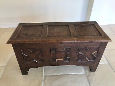 Antique Oak Coffer Trunk Chest Blanket Box Mule Chest