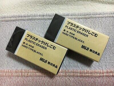 Muji Plastic Eraser Large Hard Black 2 Pcs Made In Japan