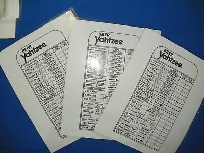 (3) BEER Yahtzee Lawn yard Dice Game reusable score card Drinking game Yardzee
