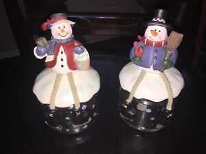 Mr & Mrs Snowman Candy Dishes