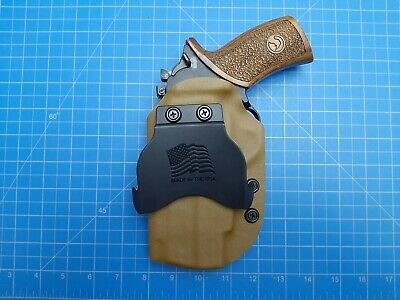 Chiappa Rhino 40ds 4in Owb right hand Kydex Holster with paddle mount coyte. (Paddle In Hand)