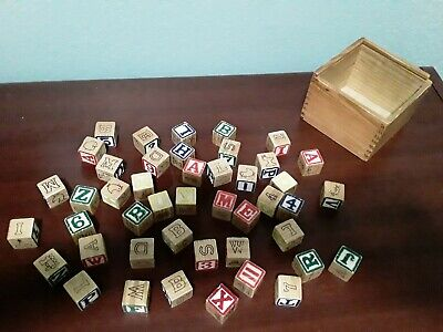 Lot of 45 wooden blocks - vintage, ABC's, numbers