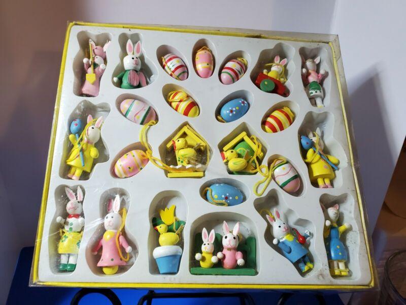 Vintage Miniature Easter Ornaments Handpainted Wooden Decorations