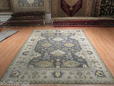 9x12 MUTED OUSHAK Allover-Pattern Veggie Dye Handmade-knotted Wool Rug 580728