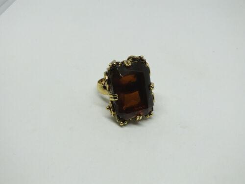 Stunning Cocktail Ring Adjustible Gold Tone Ornate Setting Amber Rhinestones WOW