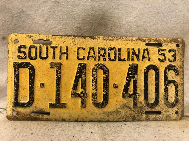 Vintage 1953 South Carolina License Plate