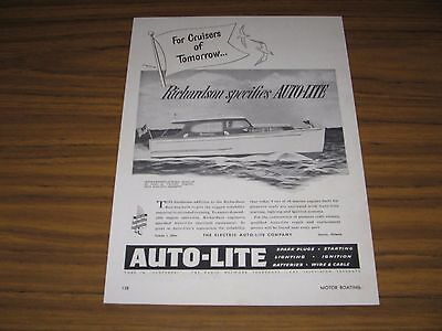 1950 Print Ad Auto-Lite Spark Plugs Richardson 32 Sedan Boats Toledo,OH