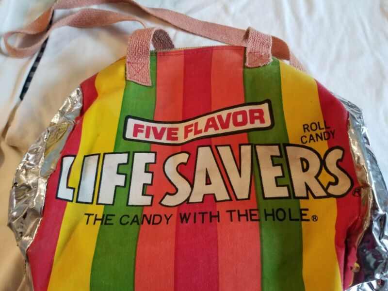 VINTAGE RAINBOW LIFESAVERS CANDY PROMOTIONAL ADVERTISING DUFFLE TOTE BAG