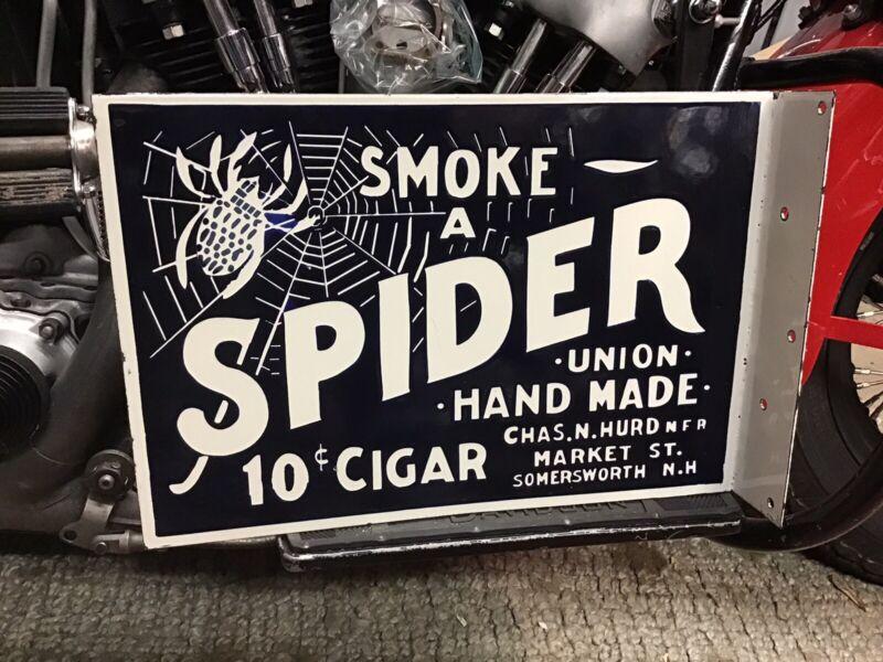 RARE VINTAGE PORCELAIN 2-SIDED SMOKE A SPIDER 10 CENT CIGAR FLANGE SIGN