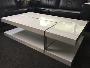 Zuchi Coffee Table In High Gloss Finish With Metal Slice Effect Belmont Belmont Area Preview