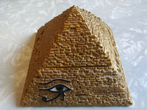 "Vintage Golden Egyptian Pyramid Jewelry / Trinket Box - 4"" Wide - 2001 Veronese"