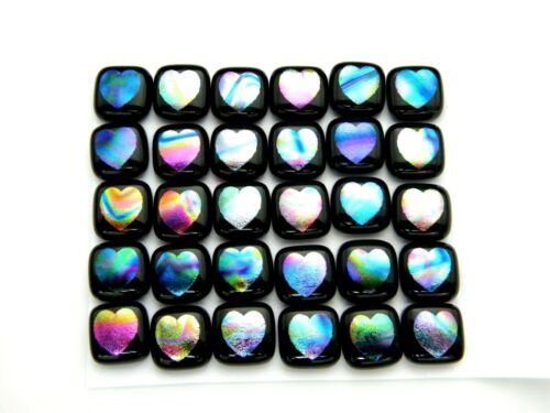 HEARTS ETCHED Lot 30 pcs DICHROIC FUSED GLASS earrings (BJ12) CAB HAND MADE