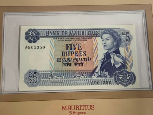 1967 MAURITIUS 5 RUPEES BANKNOTE MAURITIUS SERIAL NUMBER A/54 901356 UNC (MR)