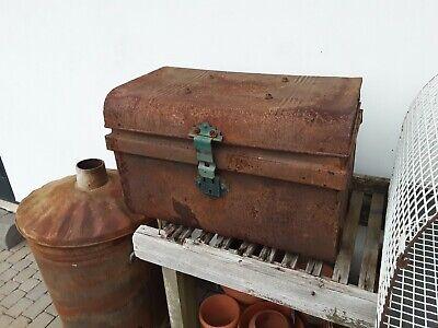 Vintage antique tin chest box trunk steamer trunk for restoration storage prop