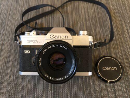 Vintage CANON FTb SLR QL 35mm Film Camera Silver + FD 50mm 1:1.8 SC Lens