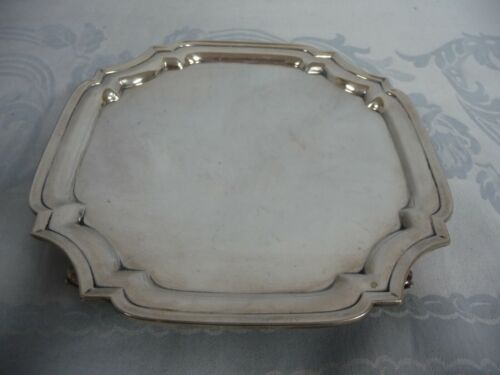 """VINTAGE STERLING SILVER FOOTED TRAY, HALLMARKED GREAT BRITAIN, 7-1/2"""", 378 GRAMS"""