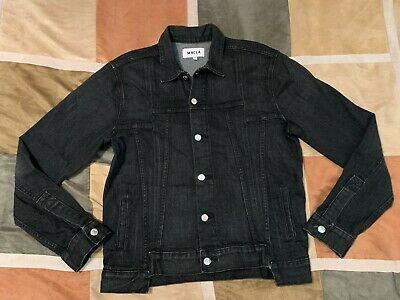$425 Mr Completely trucker black denim stretch jacket L mens NEW made in usa