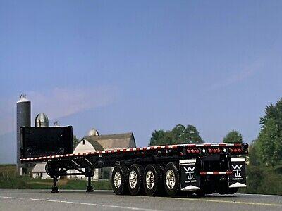 1/64 DCP BLACK 53' WILSON ROAD BRUTE QUAD AXLE FLATBED TRAILER W/ BULKHEAD