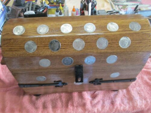 TREASURE CHEST PIRATE CHEST WITH 76 SILVER MORGAN & PEACE DOLLARS HAND MADE