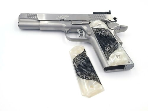 1911 Hand Grips Scroll Design Faux Pearl Kimber Colt S&W Ruger Randal Remington
