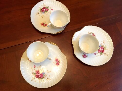 3 VTG Luncheon Plates & Tea Cups Biscuit Plate Shell Shape Japan Cabbage Roses