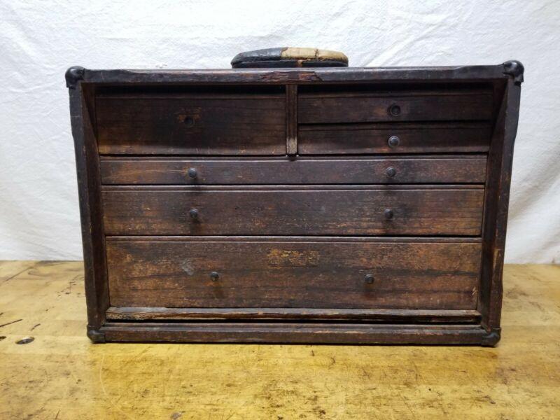 Vintage Industrial Primitive Wood Machinist Toolmaker Tool Box 6 Drawers