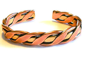 NEW SOLID COPPER & BRASS Mens Braided Adjustable Cuff Bracelet Pain relief