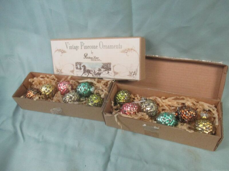 12 Bethany Lowe Vintage Pinecones Miniature Glass Ornaments Pastel Boxed (JB