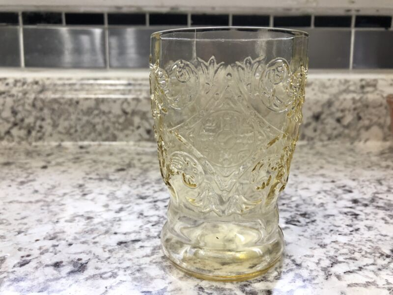 "Amber Yellow 4"" 1/4 Flat Tumbler Madrid Federal Glass (2 Avail)"
