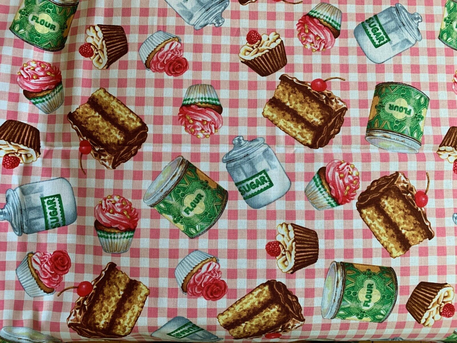 2 YARDS Exclusively Quilters Just Desserts Pink Gingham Cotton Fabric 44 W - $10.00
