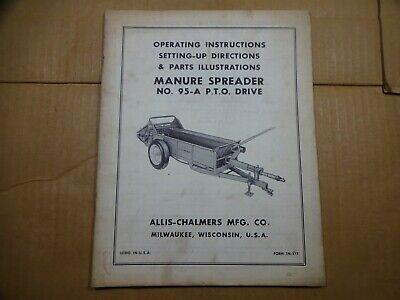 Allis Chalmers 95-a Manure Spreader P.t.o. Drive Operators Manual