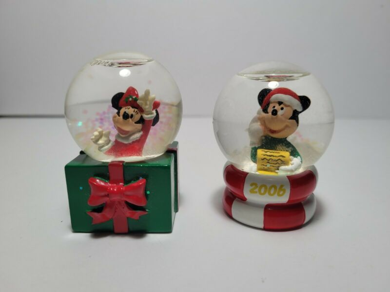 """Lot of TWO - Minnie and Mickey Mouse(2006) Disney Mini Snow globes -  2.75"""""""