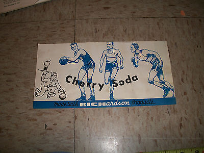 RARE 1940s PAPER LABEL Richardson Products Black Cherry Sunday Athletes