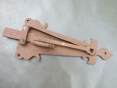 Unusual antique ornate sprung iron latch for restoration