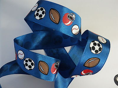 1m Blue Sports Football Boys Girls Wire Edged Ribbon Birthday Cake *3 FOR 2 *