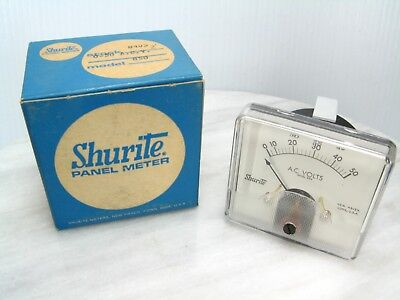 Nos Shurite Model 850 Panel Meter Gauge 8405 Z - 0-50 Ac Volts - New Vtg